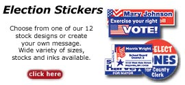 Election labels, election stickers, custom election stickers and stock eleciton stickers.
